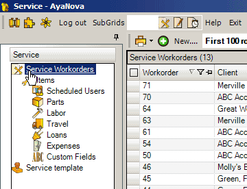 AyaNova work order entry screen overview video