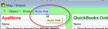 Easily auto-link existing data between you AyaNova and your QuickBooks Online clients, items, vendors etc