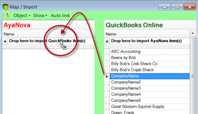 Easily drag and drop to link and/or import AyaNova and your QuickBooks Online clients, items, vendors etc