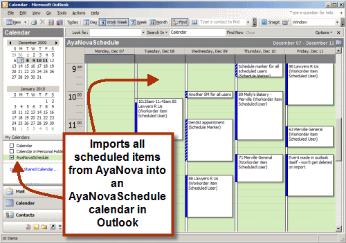 Example image of AyaNova scheduled items imported into your OutlookCalendar