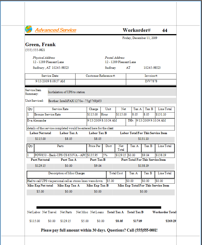 Ayanova work order faqs for Workorder template