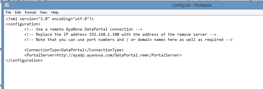 Config.txt example of Data Portal connection