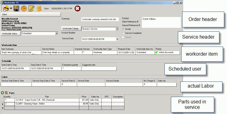 AyaNova Lite Work Order Software - Internal work order template